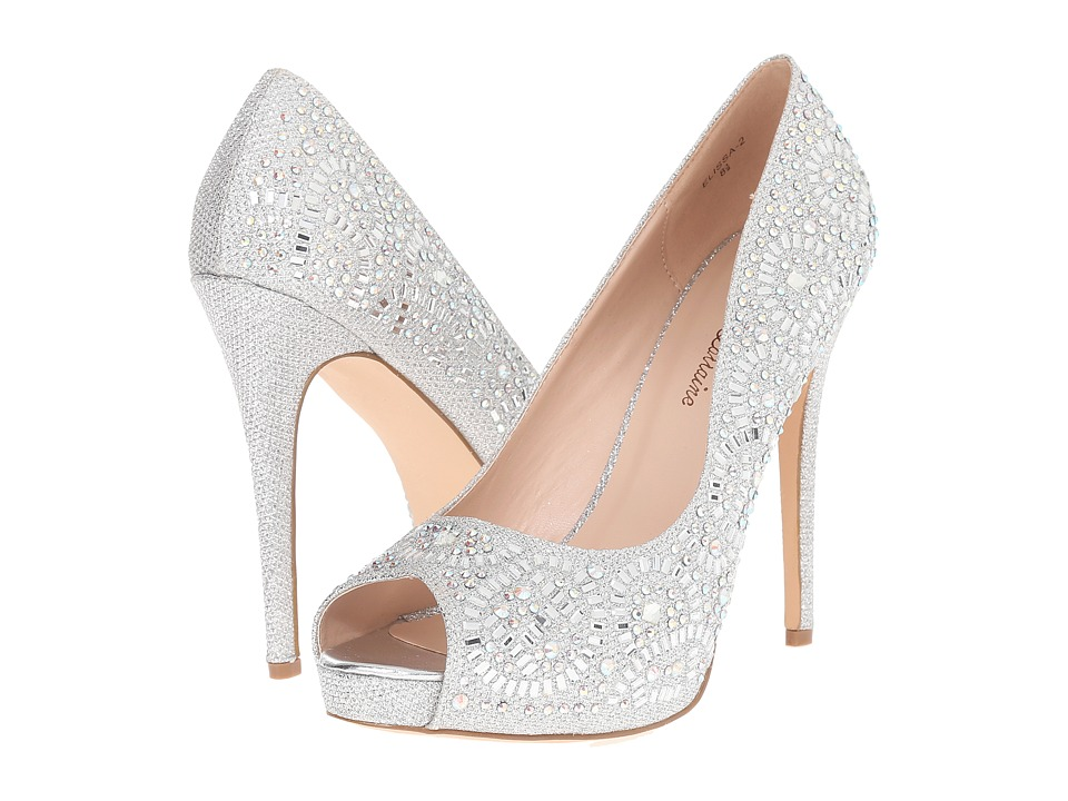 Lauren Lorraine Elissa 2 Silver Sparkle High Heels