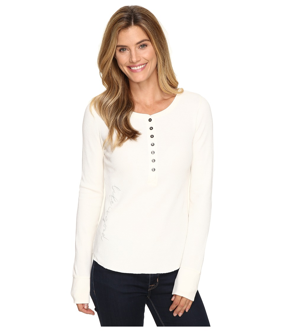 Life is good Life is Good Script Long Sleeve Waffle Henley (Simply Ivory) Women