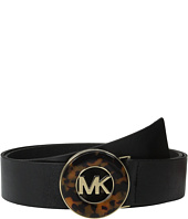 MICHAEL Michael Kors - 40mm Veg Leather Panel on Tortoise Inlay Plaque Buckle