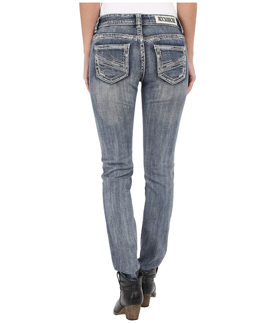 Rock and Roll Cowgirl Mid Rise Skinny in Dark Vintage W1S7366 Dark Vintage Womens Jeans