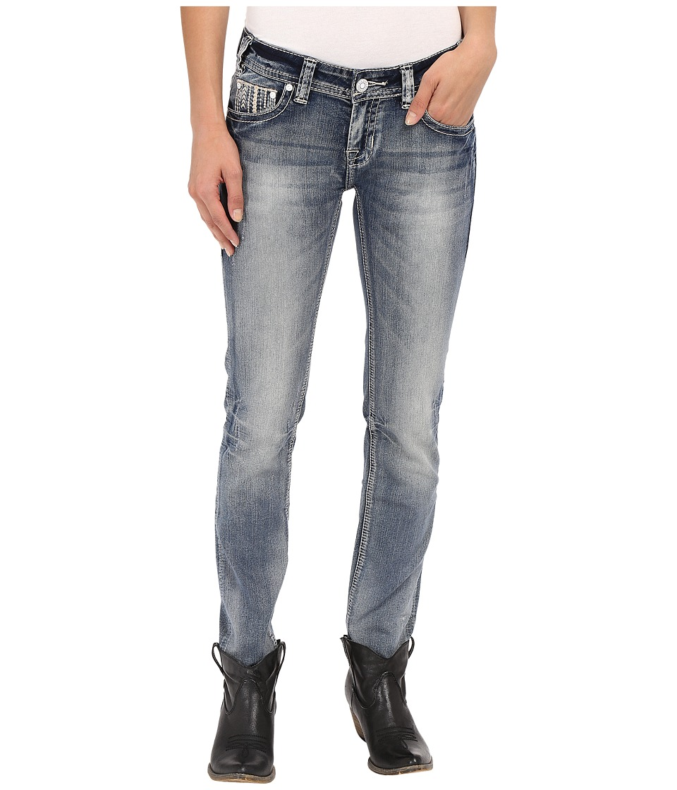 Rock and Roll Cowgirl Low Rise Skinny in Light Vintage W0S7386 Light Vintage Womens Jeans