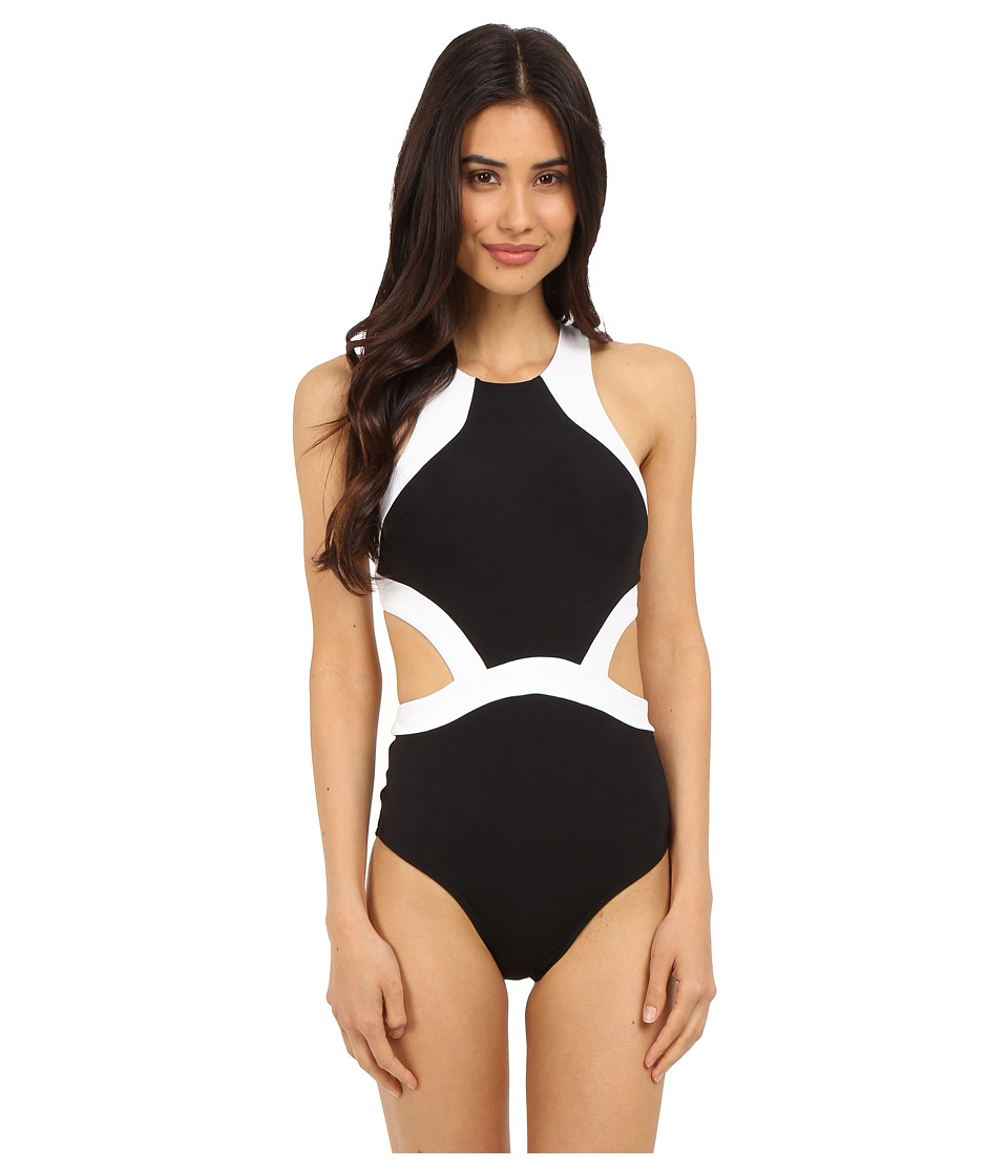 JETS by Jessika Allen Classique High Neck Cut Out One Piece Black/White Womens Swimsuits One Piece