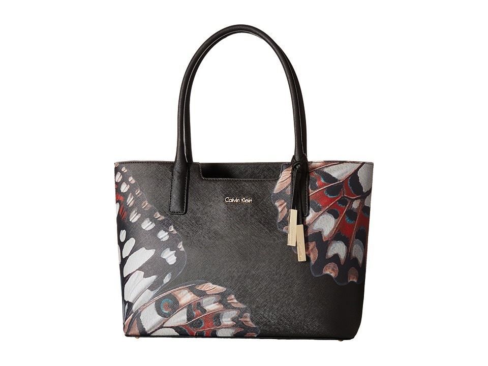 Calvin Klein - Printed Saffino Tote (Black Butterfly Abstract) Tote Handbags
