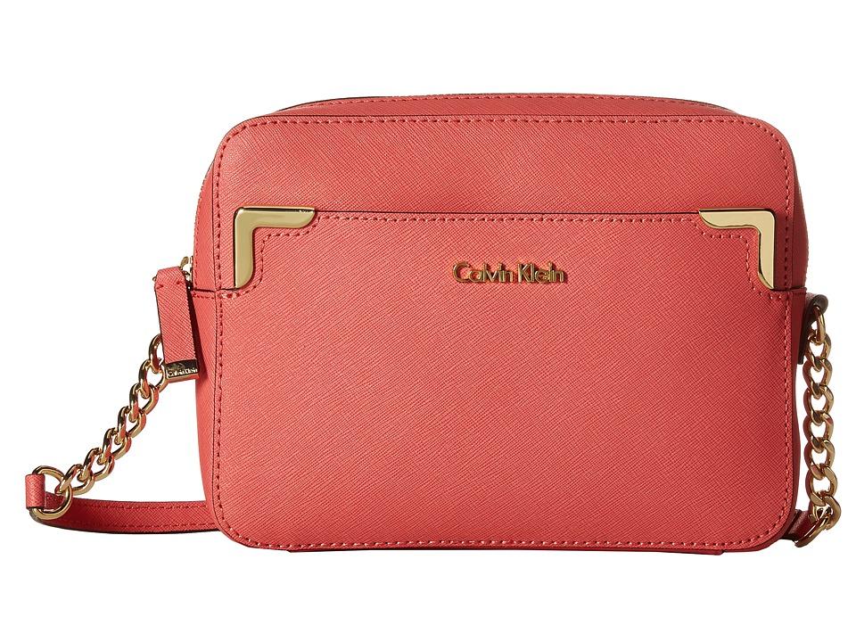 Calvin Klein - Saffiano Crossbody (Salmon) Shoulder Handbags