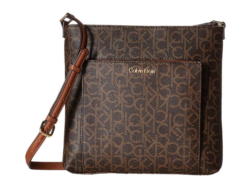 Calvin Klein - Monogram Crossbody (Brown/Khaki/Luggage Saffiano) Cross Body Handbags