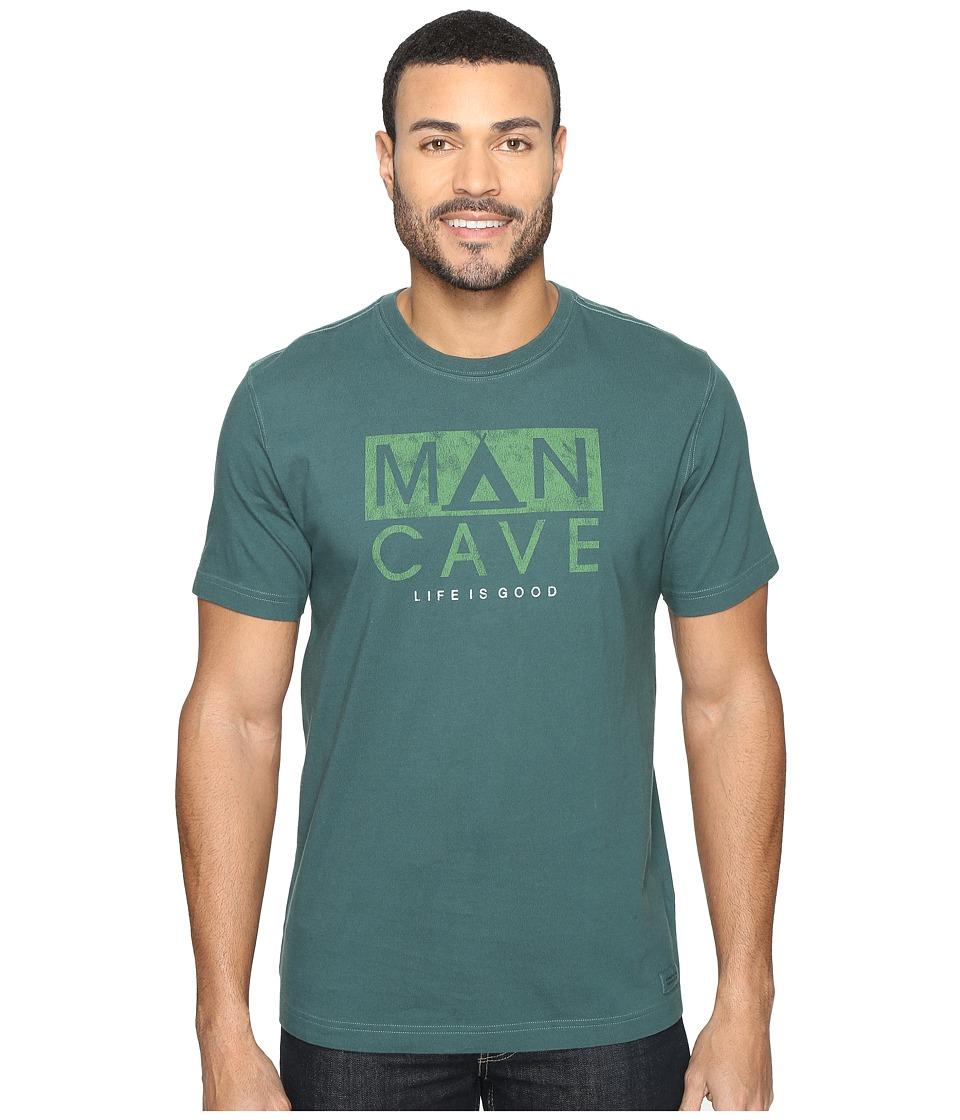 Life is good Man Cave Tent Crusher Tee (Balsam Green) Men