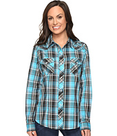 Roper - 0651 Turquoise Plaid Embroidery Shirt
