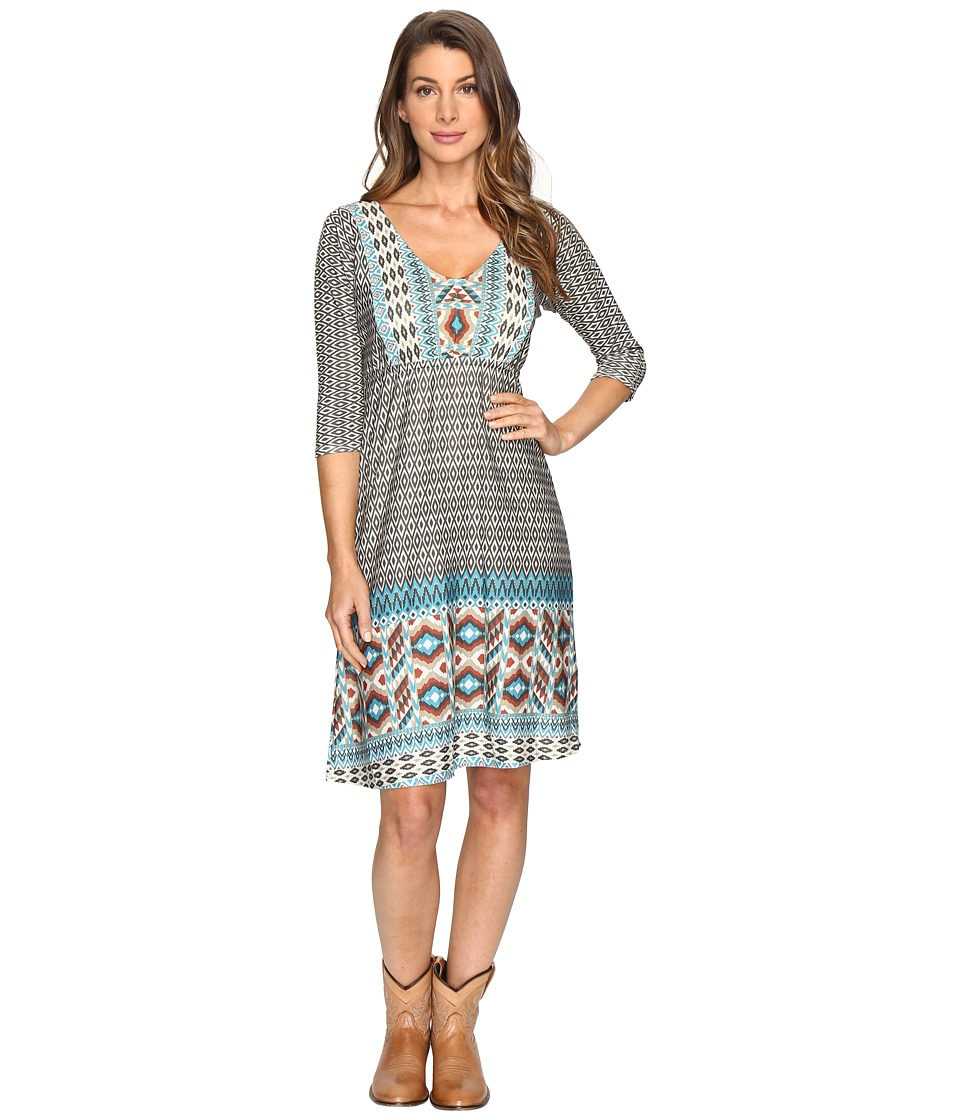 Roper 0515 Aztec Border Print Dress (Brown) Women