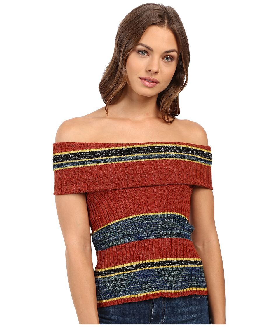 Free People - Carly Cowl Off the Shoulder Stripe Sweater Top (Red Combo) Women