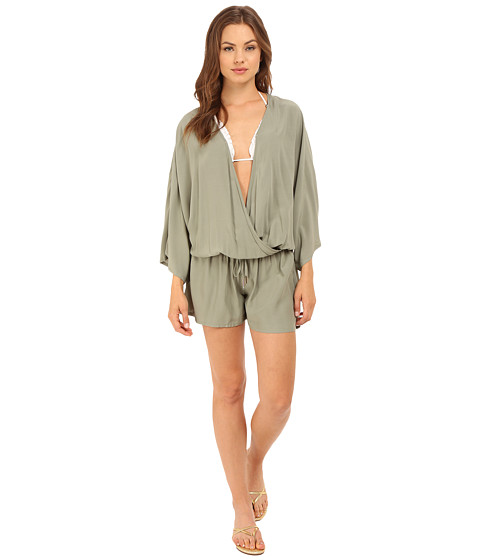Vince Camuto Milos Solids Romper w/ Draw String Waist Tie Cover-Up