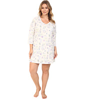 Carole Hochman - Plus Size 3/4 Sleeve Novelty Print Sleepshirt