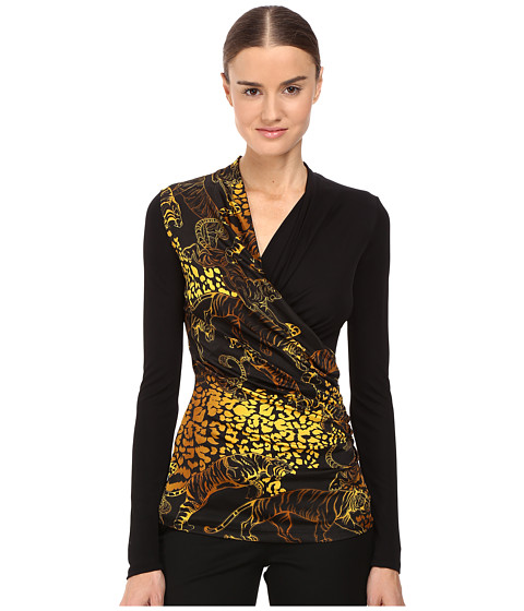 Versace Jeans Long Sleeve Printed Wrap Top - Nero