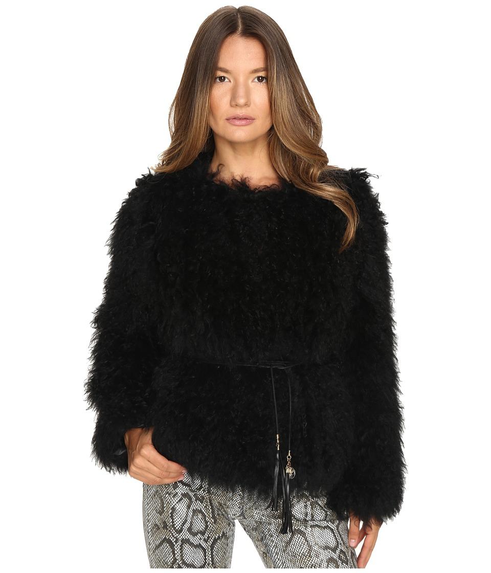 Versace Jeans Tie Waist Fur Sweater (Nero) Women