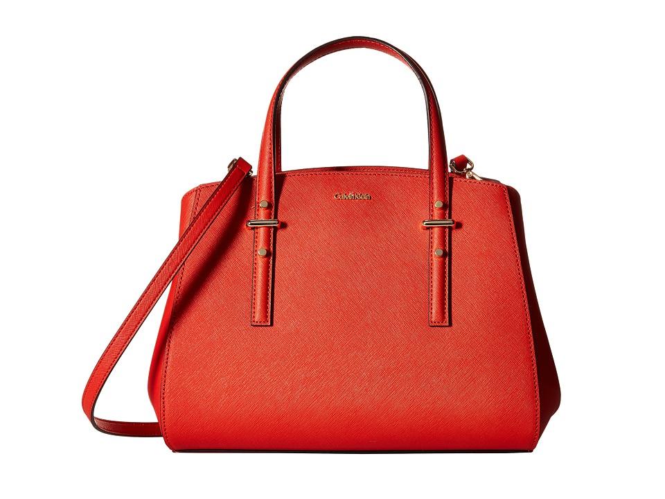 Calvin Klein - Saffiano Satchel (Volcanic Red) Satchel Handbags