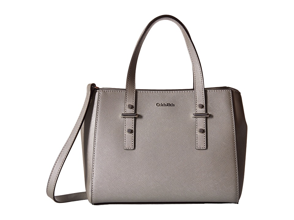 Calvin Klein - Saffiano Mini Satchel (Smokey Silver) Satchel Handbags