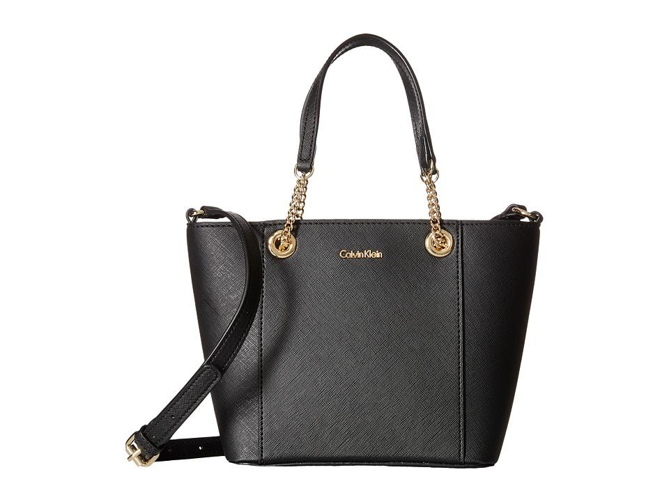 Calvin Klein - Saffiano Mini Bag (Black/Gold) Handbags