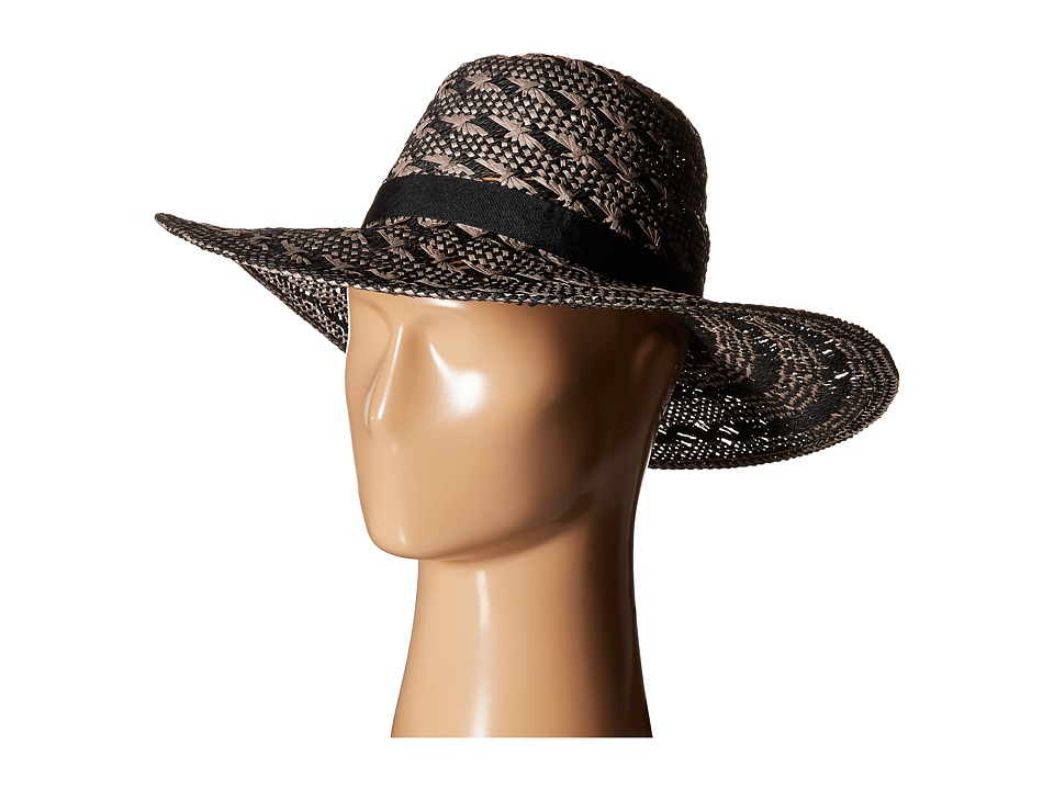 Steve Madden Floppy Woven Two Tone Hat Black Traditional Hats