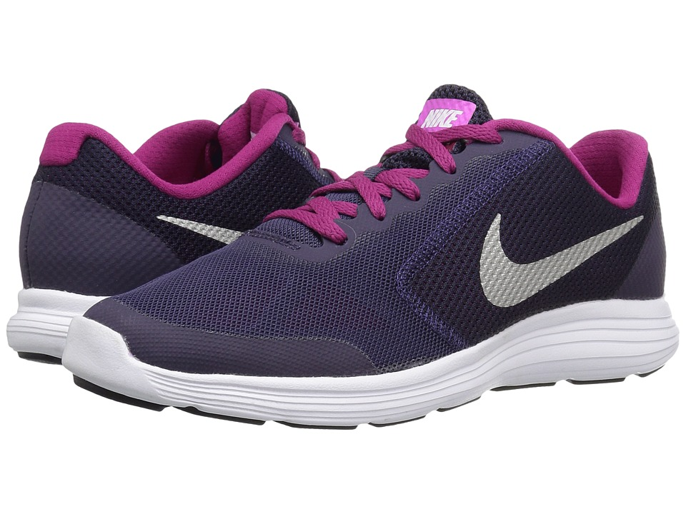 Nike Kids Revolution 3 (Big Kid) (Purple Dynasty/Dynamic Berry/Fire Pink/Metallic Silver) Girls Shoes