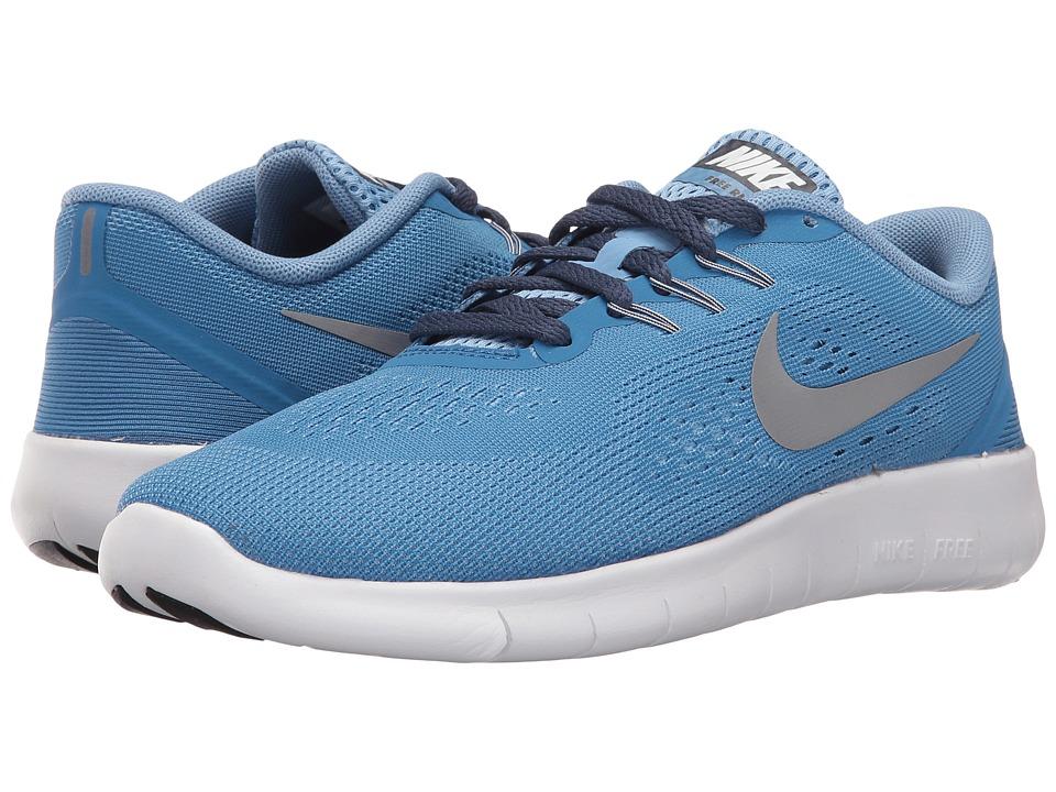 Nike Kids Free RN (Big Kid) (Star Blue/Light Blue/Midnight Navy/Metallic Silver) Girls Shoes