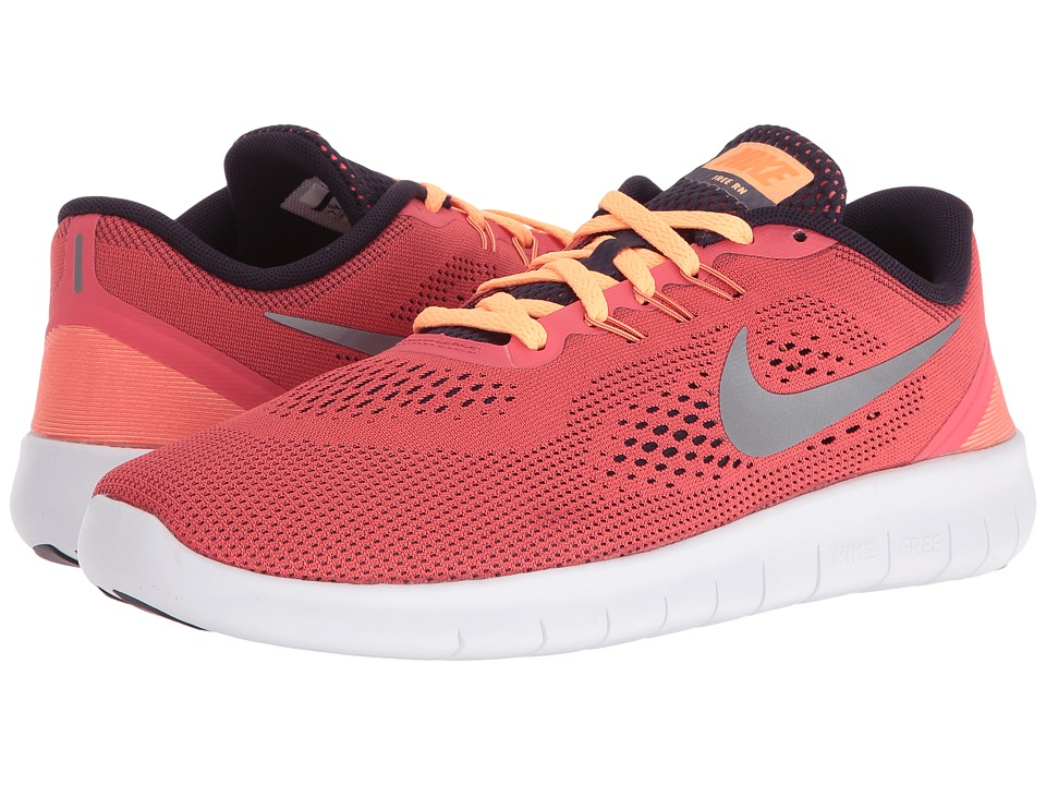 Nike Kids Free RN (Big Kid) (Ember Glow/Purple Dynasty/Peach Cream/Metallic Silver) Girls Shoes