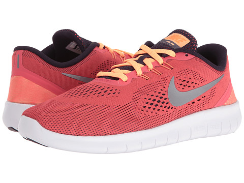 Nike Kids Free RN (Big Kid) - Ember Glow/Purple Dynasty/Peach Cream/Metallic Silver