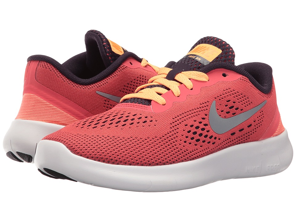 Nike Kids Free RN (Little Kid) (Ember Glow/Purple Dynasty/Peach Cream/Metallic Silver) Girls Shoes