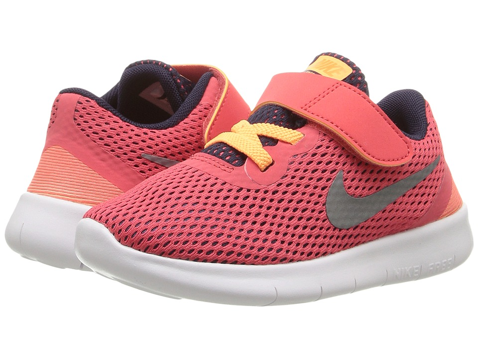 Nike Kids Free RN (Infant/Toddler) (Ember Glow/Purple Dynasty/Peach Cream/Metallic Silver) Girls Shoes