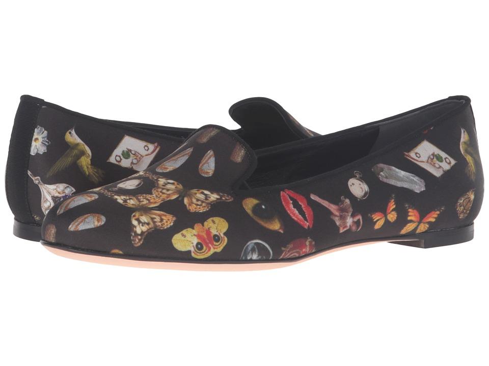 Alexander McQueen - Scarpa Pelle S.Cuoio (Black/Multi Cocktail Print/Black) Women