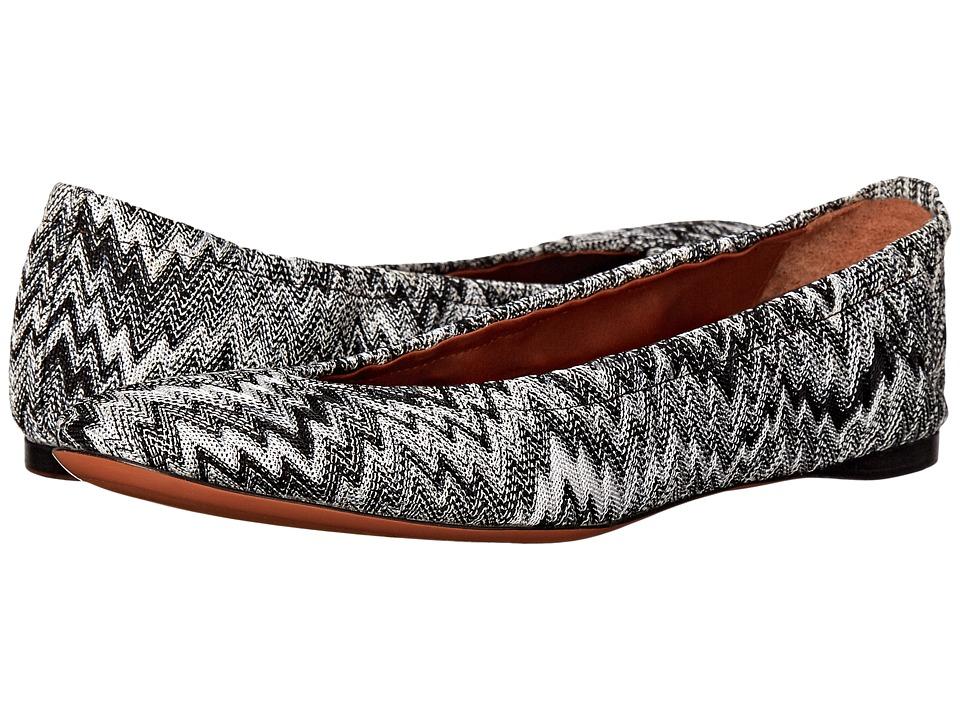 Missoni Scrunch Ballet Flat Nero/Bianco Womens Flat Shoes
