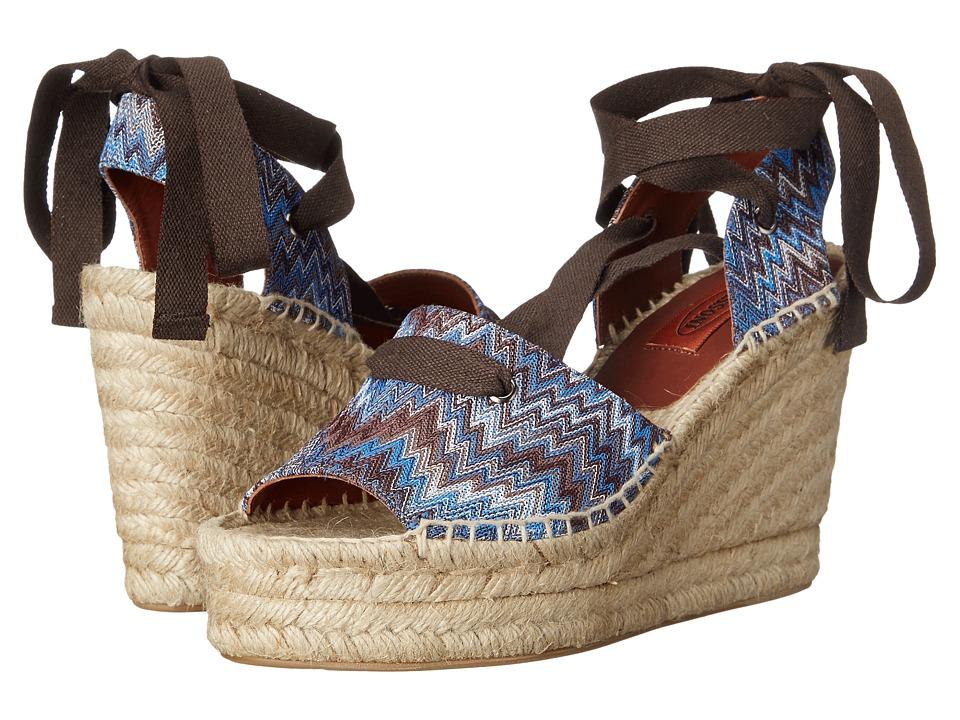 Missoni Ribbon Wedge Espadrille Cobalto Womens Wedge Shoes