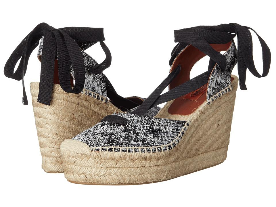 Missoni Ribbon Wedge Espadrille Nero/Bianco Womens Wedge Shoes