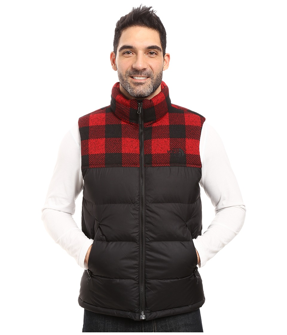 The North Face Nuptse Vest (TNF Black/Cardinal Red Grizzly Print (Prior Season)) Men