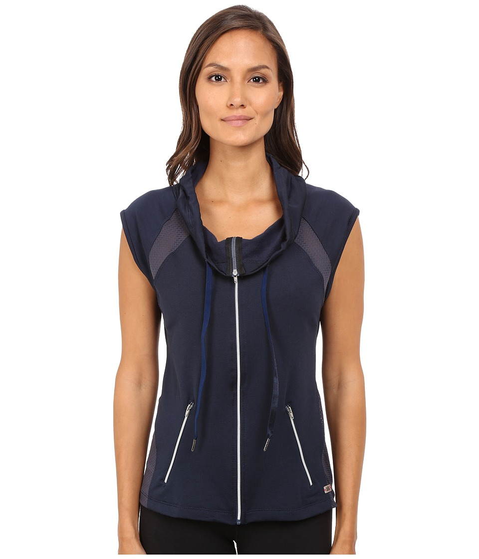 Pink Lotus Midnight Run Cool It Down Zip Up Hooded Vest w/ Contrast Detail Cement Womens Workout