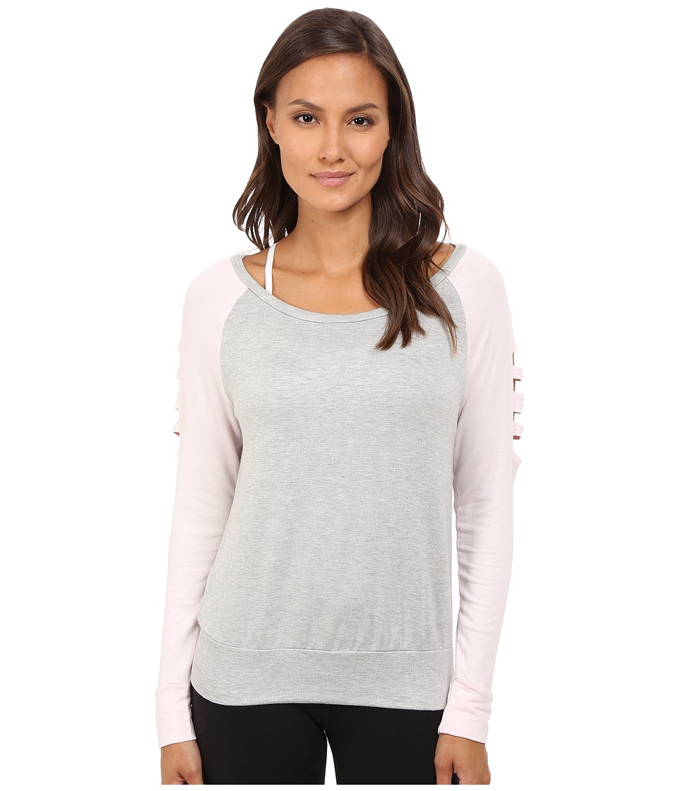 Pink Lotus Off Beat Turnout Scoop Neck Contrast Sweater w/ Sleeve Detail Heathered Gray Womens Long Sleeve Pullover