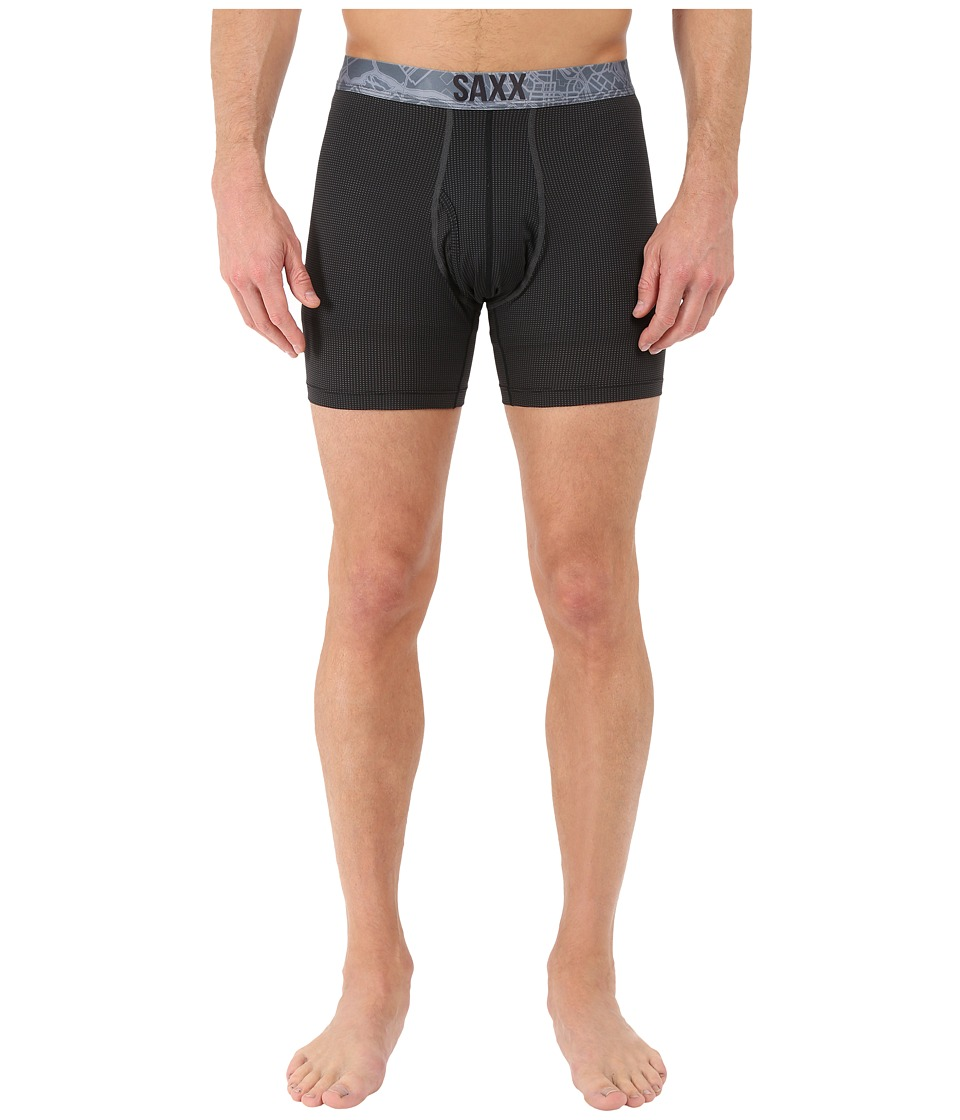 SAXX UNDERWEAR Quest 2.0 Boxer with Fly Black/Dark Charcoal Mens Underwear