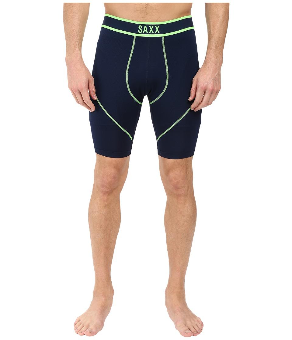 SAXX UNDERWEAR Kinetic Long Leg (Navy/Neon Green) Men