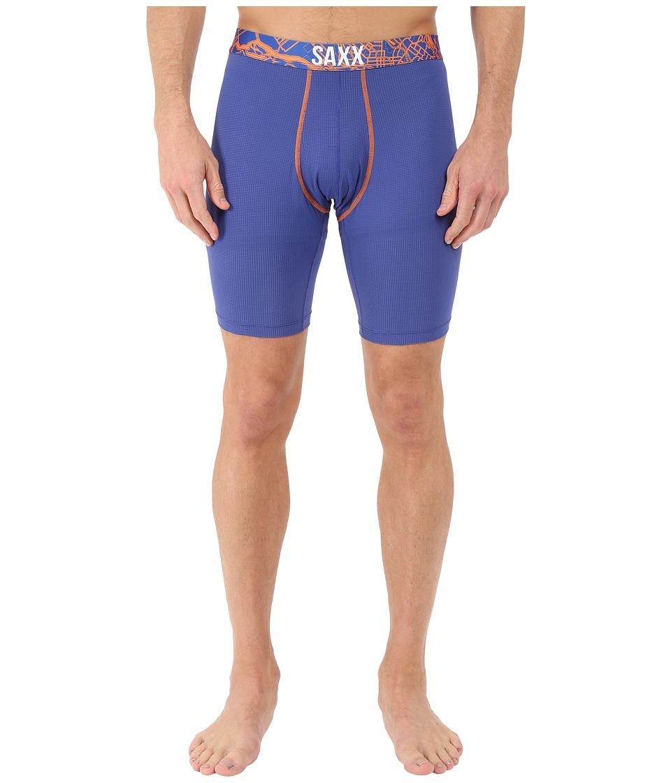 SAXX UNDERWEAR Quest 2.0 Long Leg Cobalt/Orange Mens Underwear