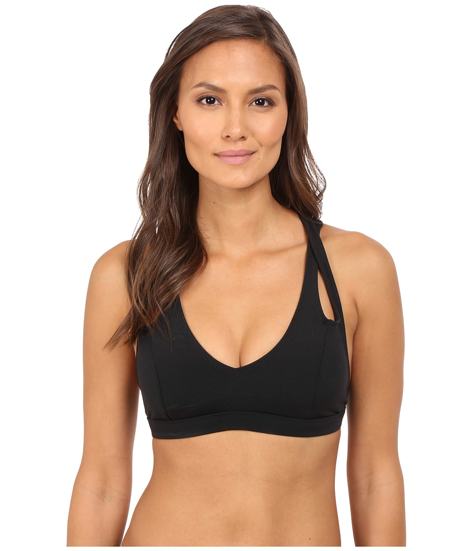 Pink Lotus Keep It on Time Stretch on Solid Sports Bra w/ Back Support Strapping Black Womens Bra