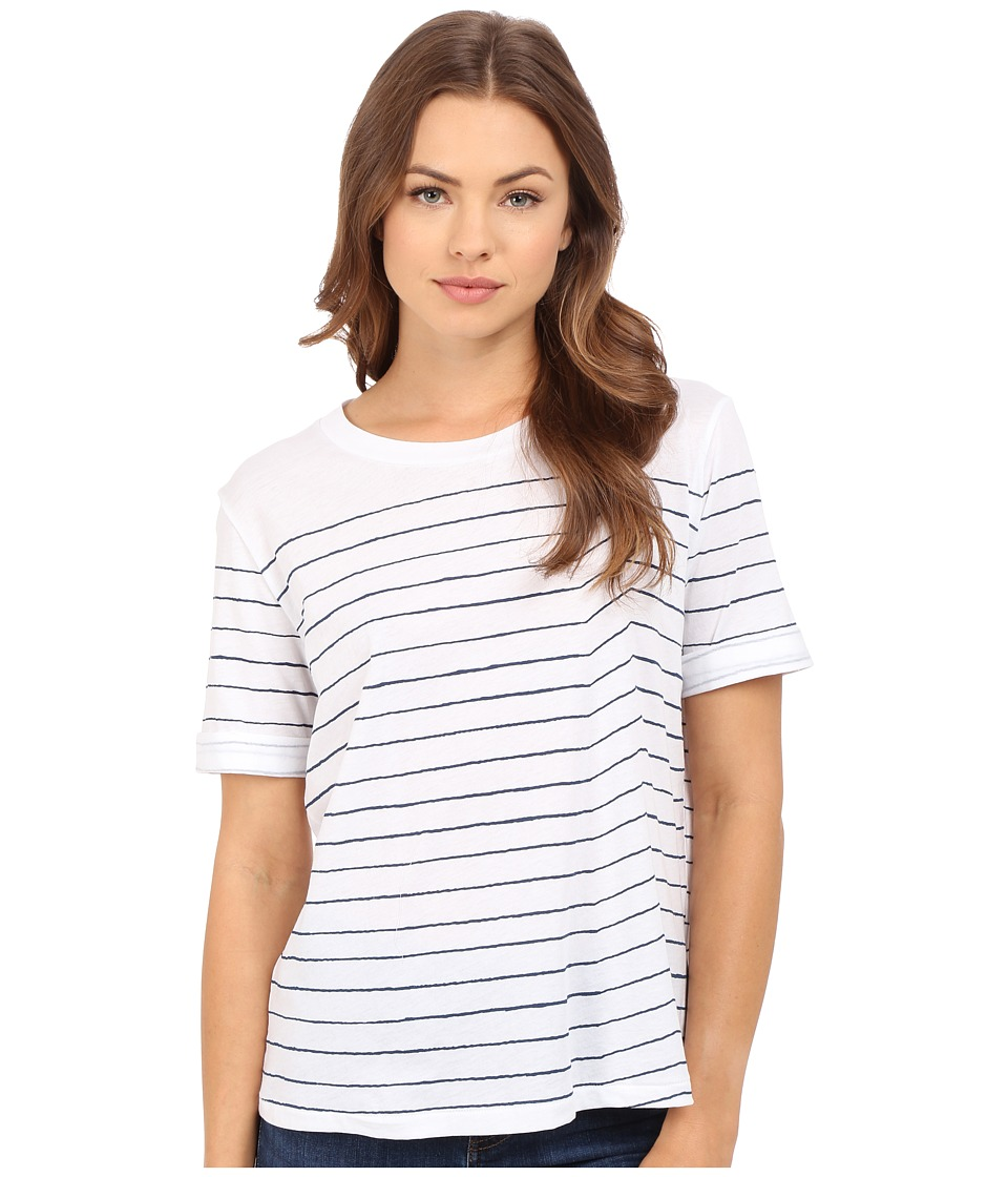 AG Adriano Goldschmied Sonic Striped Tee True White/Blue Womens T Shirt