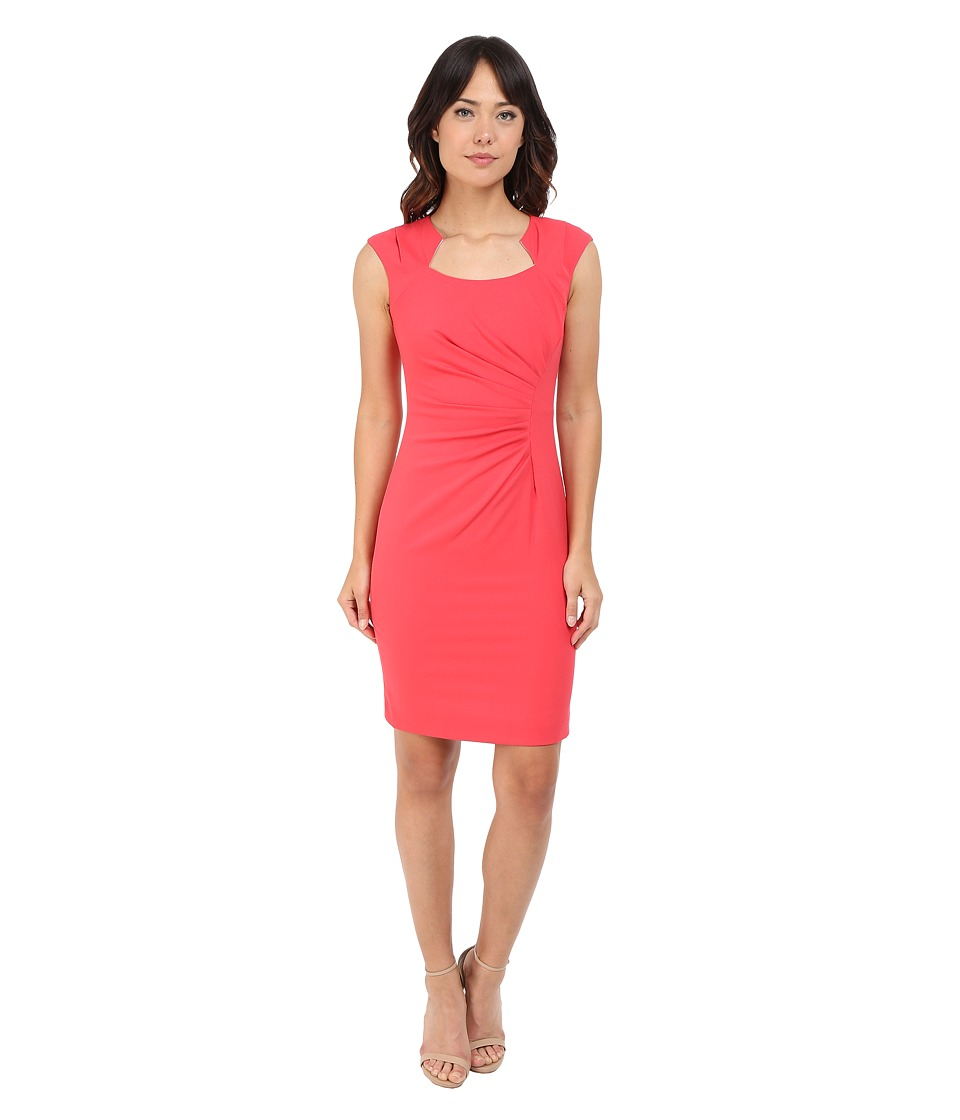 Calvin Klein Cap Sleeve Ruched Sheath Dress Watermelon Womens Dress
