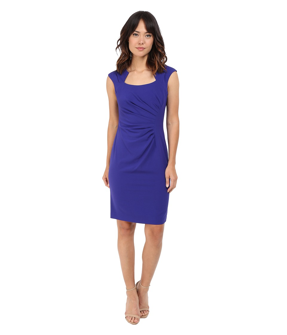 Calvin Klein Cap Sleeve Ruched Sheath Dress Byzentine Womens Dress