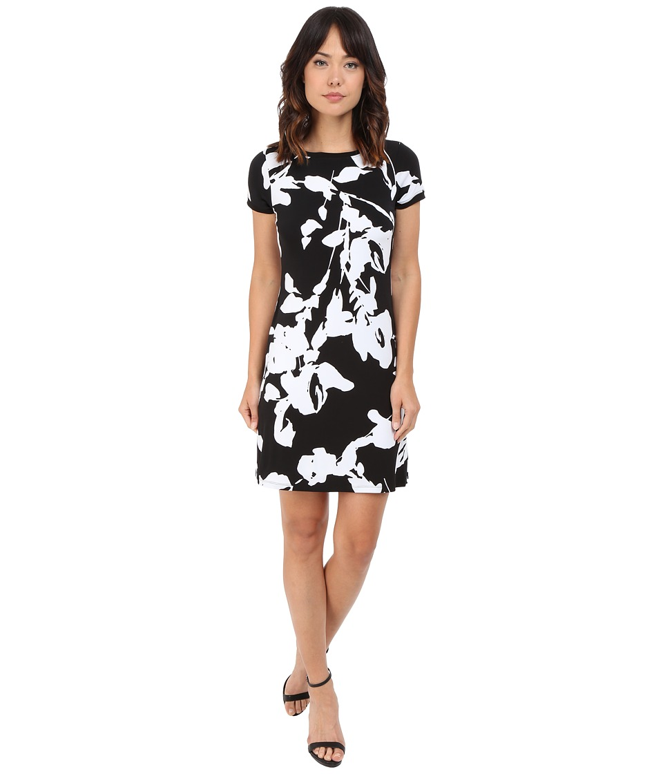 Calvin Klein Printed Shift Dress CD6AT884 Black/White Womens Dress