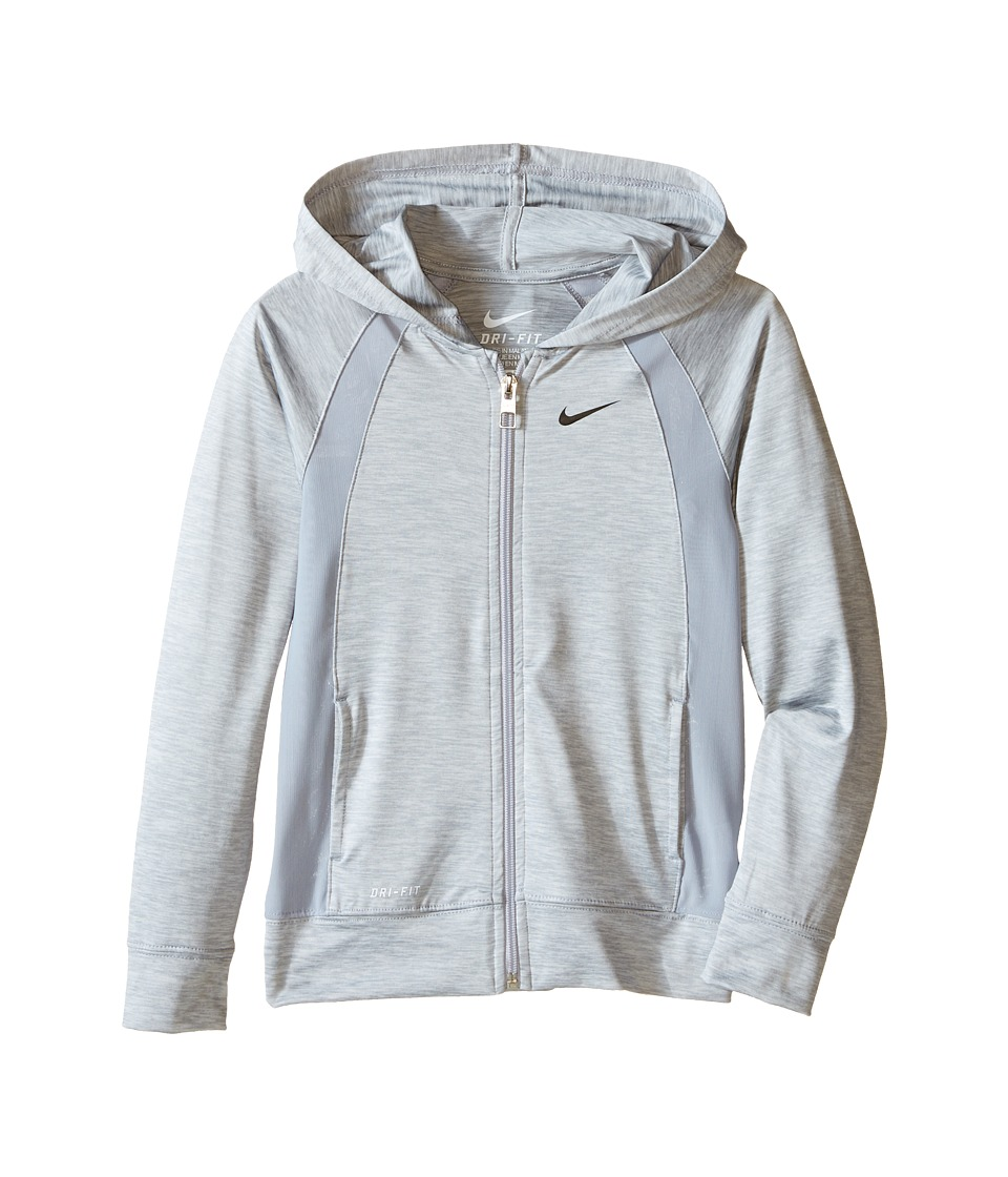 Nike Kids Dri FIT Lightweight Sport Essentials F/S Hoodie Little Kids Wolf Grey Girls Sweatshirt