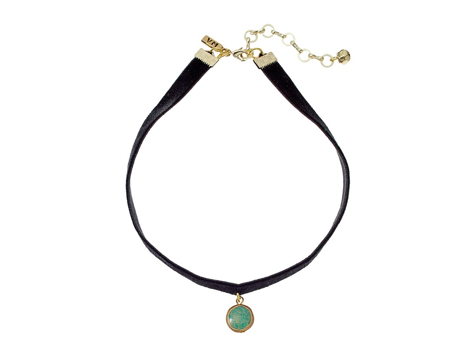 Vanessa Mooney Black Velvet Choker with Small Circle Turquoise Charm Necklace Brass Necklace
