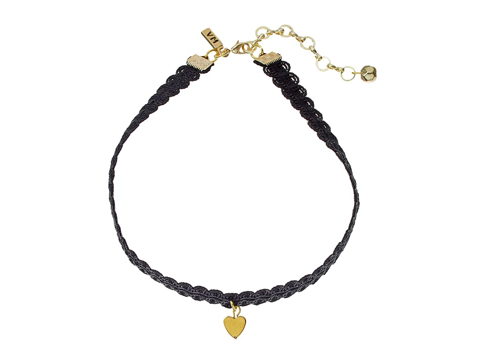 Vanessa Mooney Black Lace Choker with Gold Heart Charm Necklace Gold Necklace