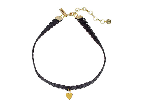 Vanessa Mooney Black Lace Choker with Gold Heart Charm Necklace - Gold