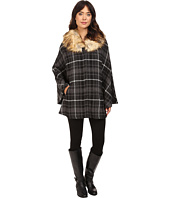LAUREN Ralph Lauren - Plaid Ruana w/ Faux Fur Collar