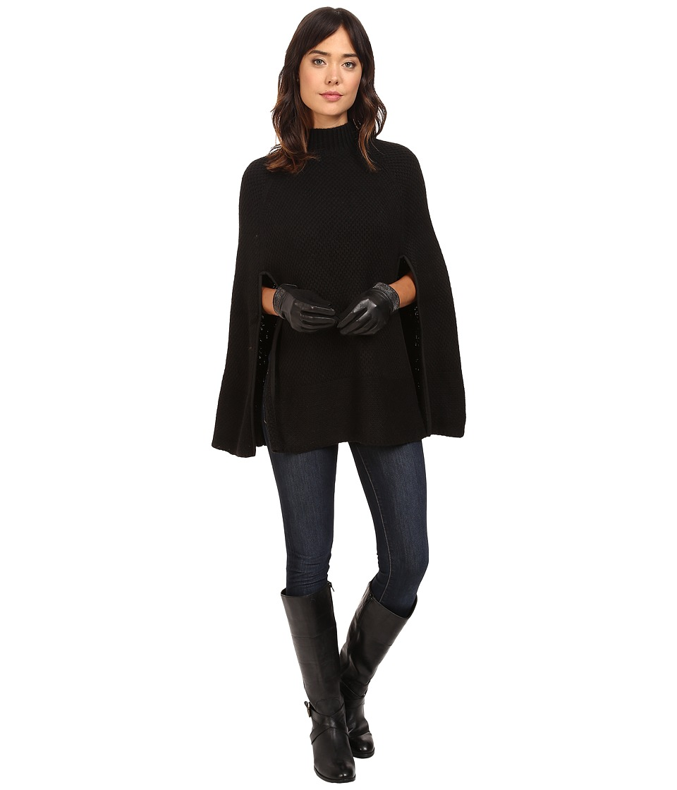 LAUREN Ralph Lauren - Turtleneck Honeycomb Capelet (Black) Women