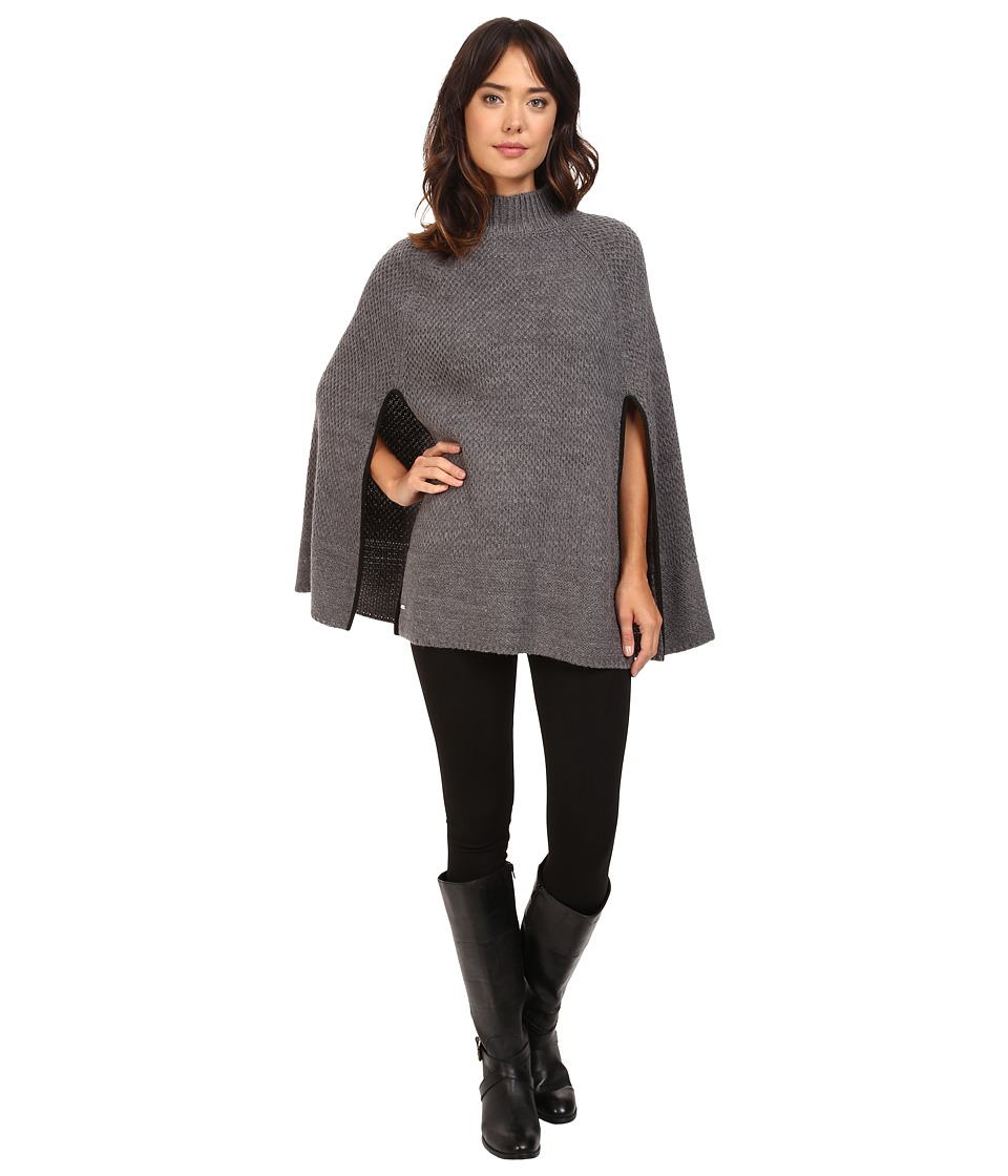 LAUREN Ralph Lauren - Turtleneck Honeycomb Capelet (Dark Grey Heather) Women