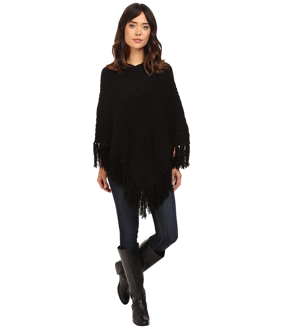 LAUREN Ralph Lauren Aran Cable Poncho (Black) Women